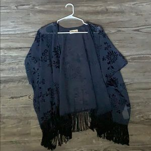 Blue fringe cover up